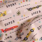 Tissu Coton imprimé LittleBird Courses de voitutres sur fond Beige - Par 10 cm