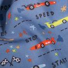 Tissu Coton imprimé LittleBird Courses de voitutres sur fond Bleu denim - Par 10 cm