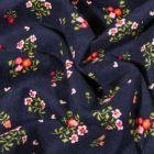 Tissu Velours milleraies Fleuris sur fond Bleu marine - Par 10 cm