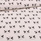 Tissu Flanelle de coton Têtes de pandas sur fond Blanc - Par 10 cm