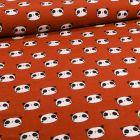 Tissu Flanelle de coton Têtes de pandas sur fond Rouille - Par 10 cm