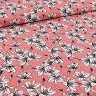 Tissu Toile Coton Lys blancs et noirs sur fond Rose - Par 10 cm