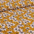 Tissu Toile Coton Lys blancs et noirs sur fond Jaune moutarde - Par 10 cm