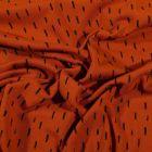 Tissu Jersey Coton Bio Pointillés noirs sur fond Rouille - Par 10 cm