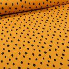 Tissu Sweat léger envers molletonné Bio Pois noirs sur fond Jaune curcuma - Par 10 cm