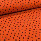 Tissu Sweat léger envers molletonné Bio Pois noirs sur fond Orange - Par 10 cm
