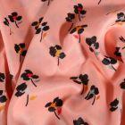 Tissu Satin imprimé Fleurs noirs et colorés sur fond Rose - Par 10 cm