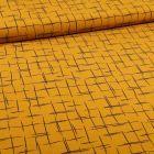 Tissu Satin imprimé Esquisse quadrillé sur fond Jaune - Par 10 cm