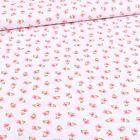 Tissu Coton imprimé Bio Petites fleurs sur fond Blanc - Par 10 cm