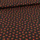 Tissu Coton imprimé Bio Petites fleurs rouge sur fond Noir - Par 10 cm