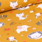 Tissu Jersey Coton Animaux et feuillages sur fond Jaune