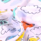 Tissu Jersey Coton Hélicoptère sur fond Blanc