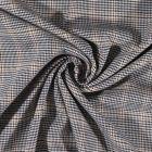Tissu gabardine légère Petits carreaux Bleu marine foncé et vanille sur fond Blanc cassé - Par 10 cm