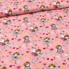 Tissu Coton imprimé Danseuses et pâquerettes sur fond Rose - Par 10 cm