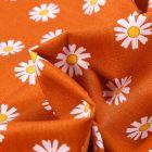 Tissu Coton imprimé LittleBird Pâquerettes sur fond Orange