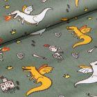 Tissu Coton imprimé LittleBird Dragons et chevaliers sur fond Vert kaki
