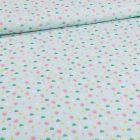 Tissu Coton imprimé Tulipes et pâquerettes sur fond Vert menthe - Par 10 cm
