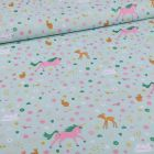 Tissu Coton imprimé Licornes et faons sur fond Vert menthe - Par 10 cm