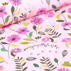 Tissu Coton imprimé Butinage de fleurs sur fond Rose