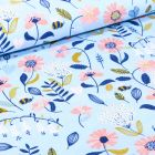 Tissu Coton imprimé Butinage de fleurs sur fond Bleu