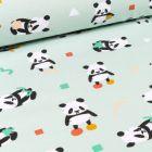 Tissu Jersey Coton Pandas et formes géométriques sur fond Vert menthe