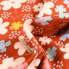 Tissu Jersey Coton Bio Pensées colorées sur fond Rouille