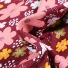 Tissu Jersey Coton Bio Pensées colorées sur fond Bordeaux