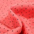 Tissu Coton lavé Petits pois noir sur fond Corail