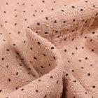 Tissu Coton lavé Petits pois noir sur fond Beige