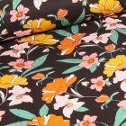 Tissu Viscose Twill extensible Fleurs pastels sur fond Noir