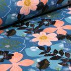 Tissu Jersey Coton envers molletonné Bio Grandes fleurs colorés sur fond Bleu