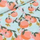 Tissu Coton imprimé LittleBird Peachy sur fond Vert menthe - Par 10 cm