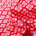 Tissu Coton imprimé Violette blanches sur fond Rouge