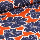 Tissu Crêpe imprimé Grandes fleurs bleu sur fond Orange