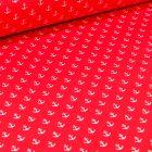 Tissu Coton enduit Ancres blanches sur fond Rouge