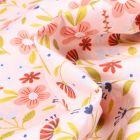 Tissu Coton imprimé Fleurs des champs sur fond Rose pâle