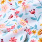 Tissu Coton imprimé Fleurs des champs sur fond Bleu ciel
