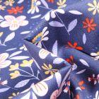 Tissu Coton imprimé Fleurs des champs sur fond Bleu marine