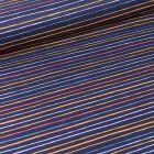 Tissu Coton imprimé LittleBird Rayures multicolores sur fond Bleu nuit