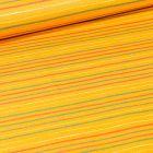 Tissu Coton imprimé LittleBird Rayures multicolores sur fond Jaune