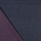 Tissu Sweat Matelassé Réversible Motifs roses sur fond Bleu marine - Par 10 cm