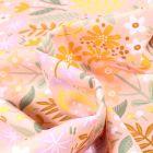 Tissu Coton imprimé Végétations colorés sur fond Rose nude