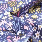 Tissu Coton imprimé Végétations colorés sur fond Bleu nuit