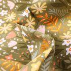 Tissu Coton imprimé Végétations colorés sur fond Vert kaki