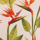 Tissu Toile Coton Aspect Lin Oiseau de Paradis rouge, orange et vert sur fond Beige - Par 10 cm