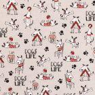 Tissu Toile Coton Aspect Lin Dogs Life noir, blanc et rouge sur fond Beige - Par 10 cm