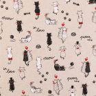 Tissu Toile Coton Aspect Lin Chats amoureux noirs, blancs et rouges sur fond Beige - Par 10 cm