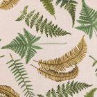 Tissu Toile Coton Aspect Lin Feuilles de fougères Vertes et ocre sur fond Beige - Par 10 cm