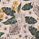 Tissu Toile Coton Aspect Lin Panthère et motifs tropicaux noirs, verts et jaunes sur fond Beige - Par 10 cm