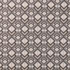 Tissu Toile Coton Aspect Lin Losanges beiges et noirs sur fond Gris - Par 10 cm